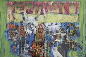 Acryl mit Collage auf Karton